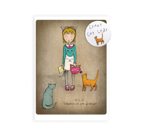Crazy Cat Lady Badge and Greetings Card