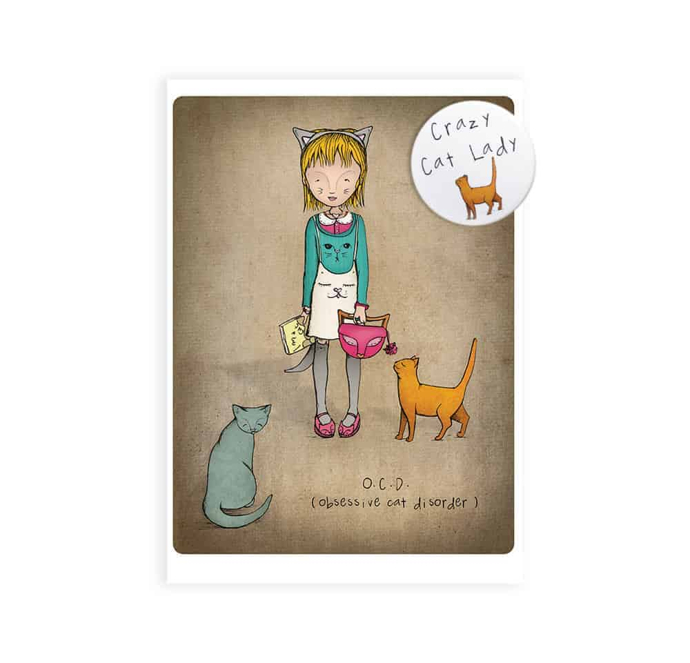 Crazy cat lady badge and greetings card meowco crazy cat lady badge and greetings card m4hsunfo
