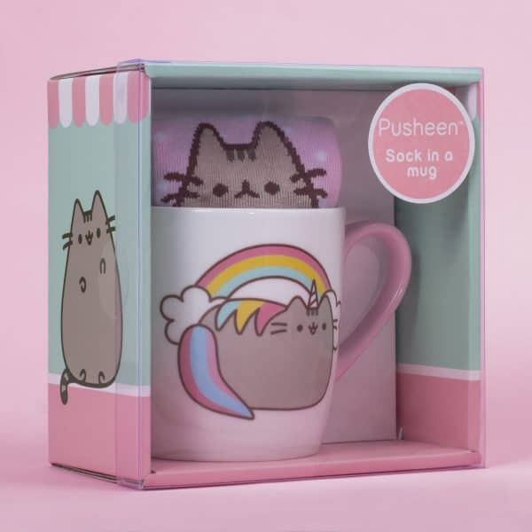 Pusheenicorn sock in a mug