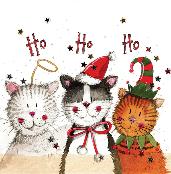 Alex Clark Ho! Ho! Ho! Cats Christmas Card